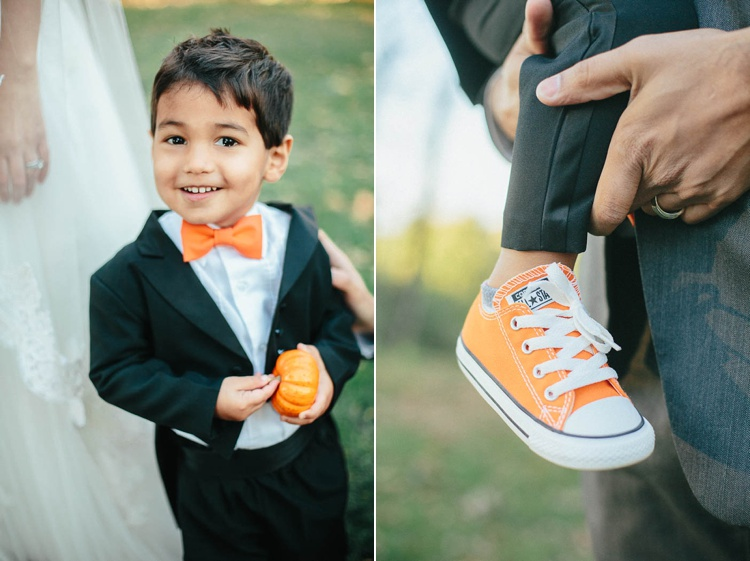 orange wedding details ring bearer