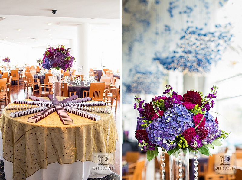 purple red tall floral centerpieces