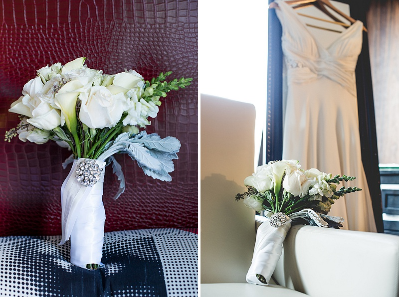 winter wedding bouquet and gown