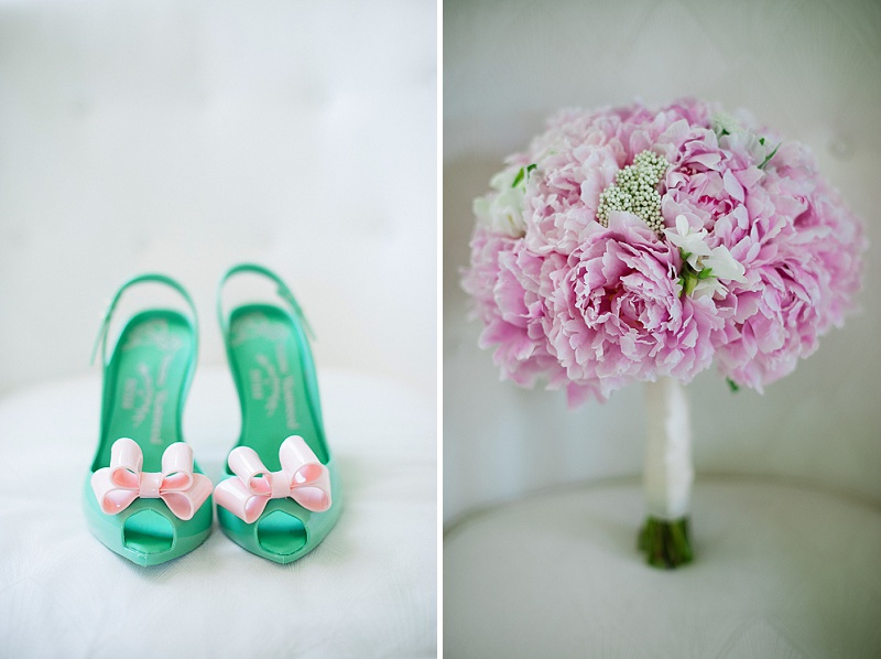 teal bride heels pink bouquet
