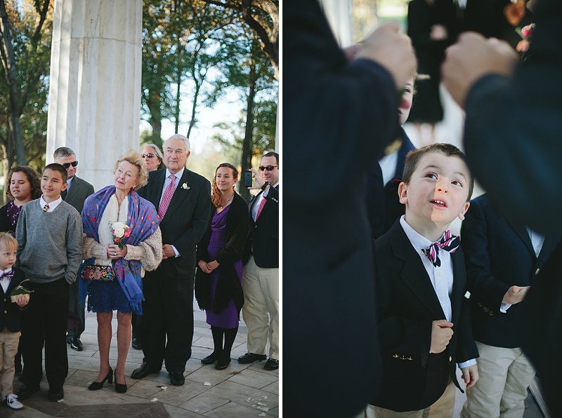 intimate modern Washington DC wedding ceremony DC war memorial