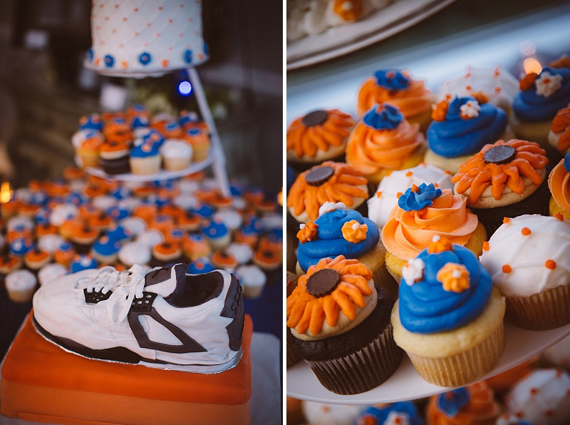 orange blue wedding cupcakes