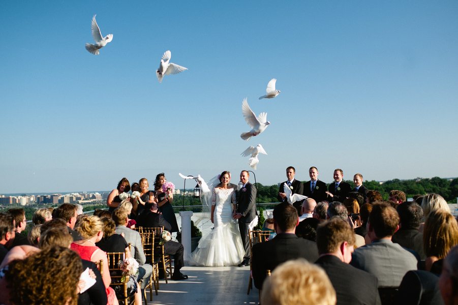 releasing doves at wedding ceremony