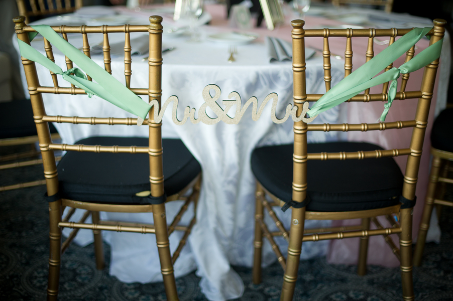 teal mr mrs chair back signs