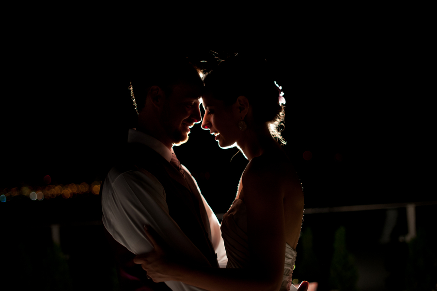 amazing night time wedding portrait