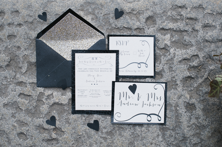 dark black wedding invitation suite