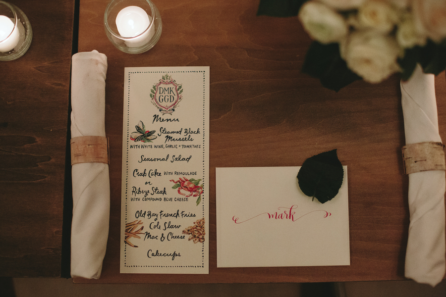 modern DC wedding menu design