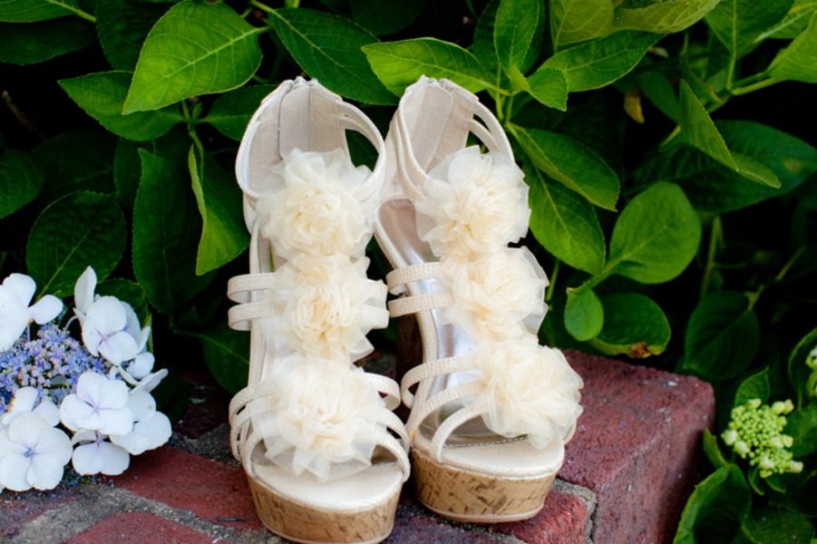 ruffled wedges bride wedding