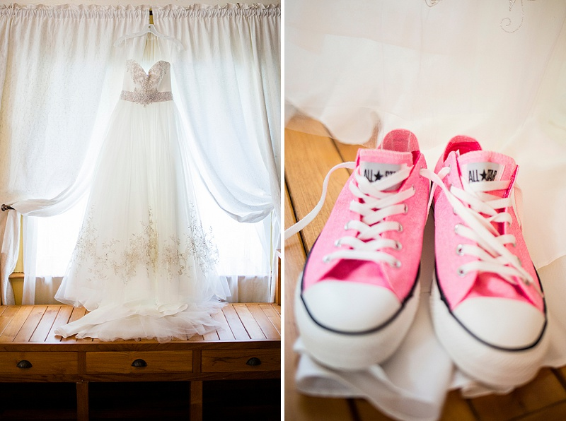 bride in pink chucks