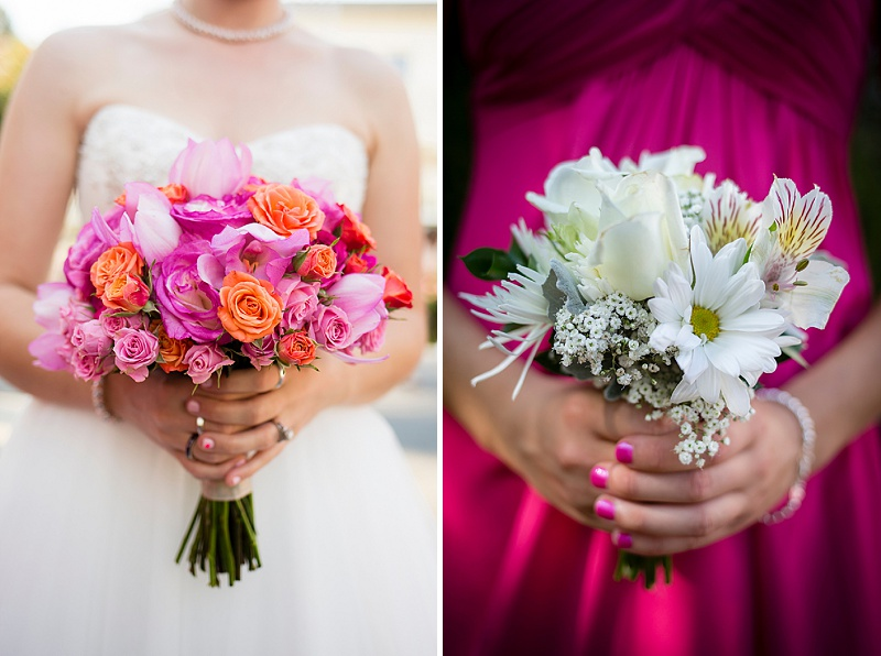 pink and orange bride bouquet