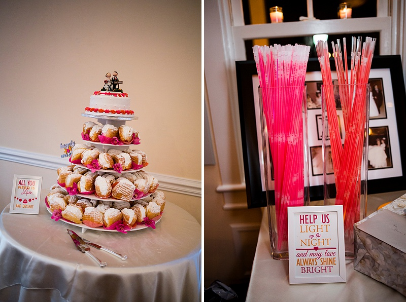hot pink orange wedding cupcakes