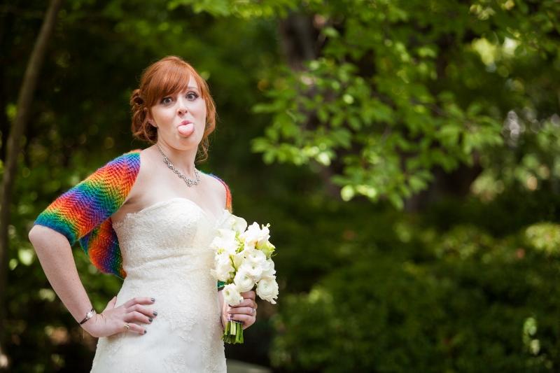 bride rainbow bolero