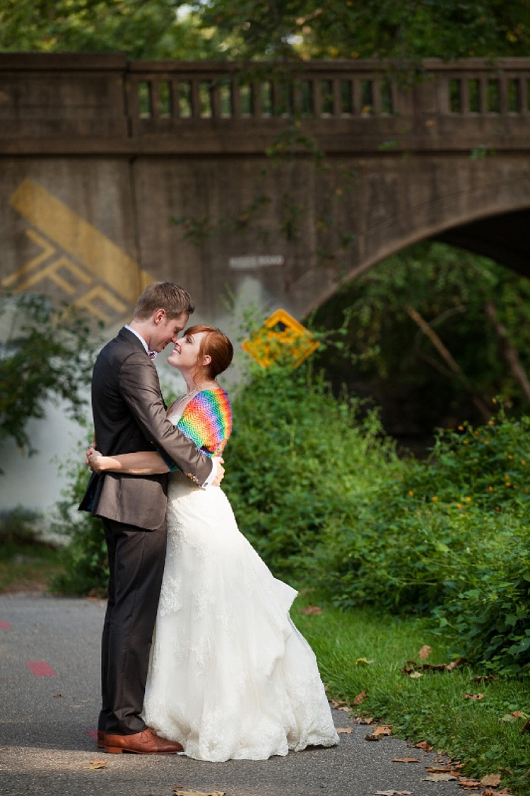 DIY rainbow colored Maryland wedding