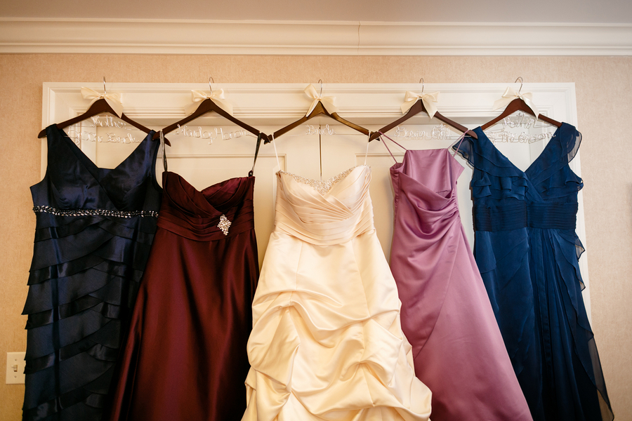 mismatched blue purple bridesmaids dresses