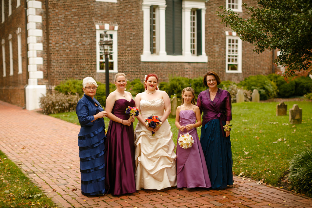 purple and blue bridesmaids dresses