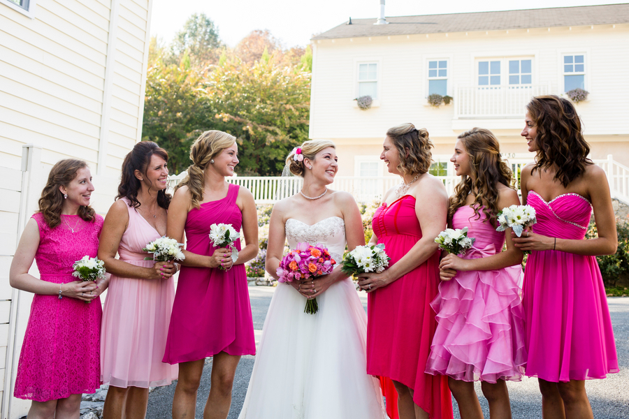 mismatched pink bridsmaids dresses