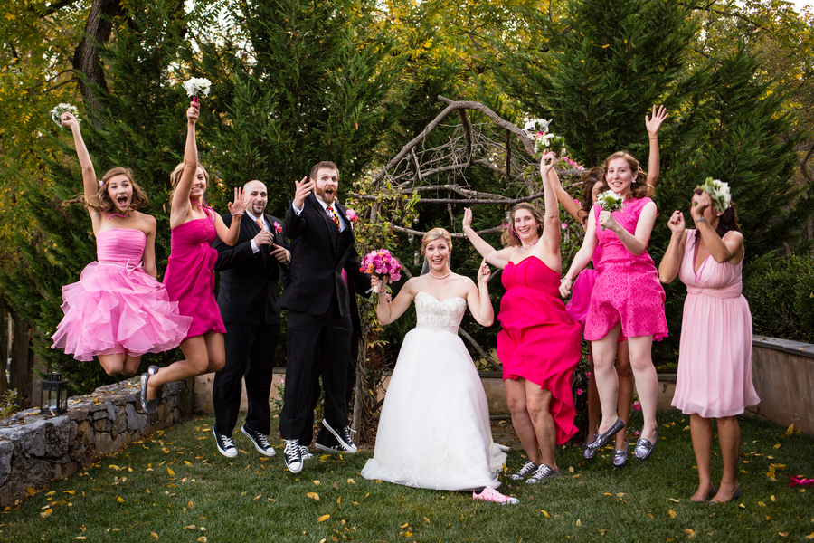 offbeat hot pink orange Maryland wedding