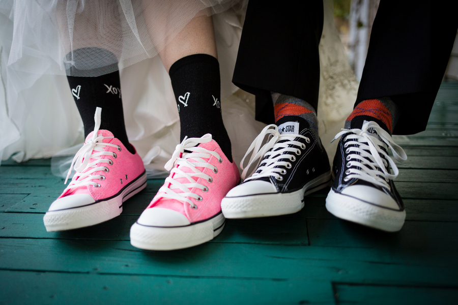 bride and groom in chucks