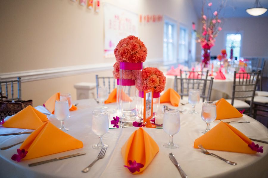 hot pink orange wedding tablescapes