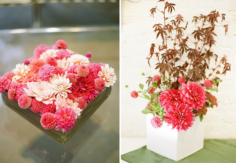 modern red floral centerpieces