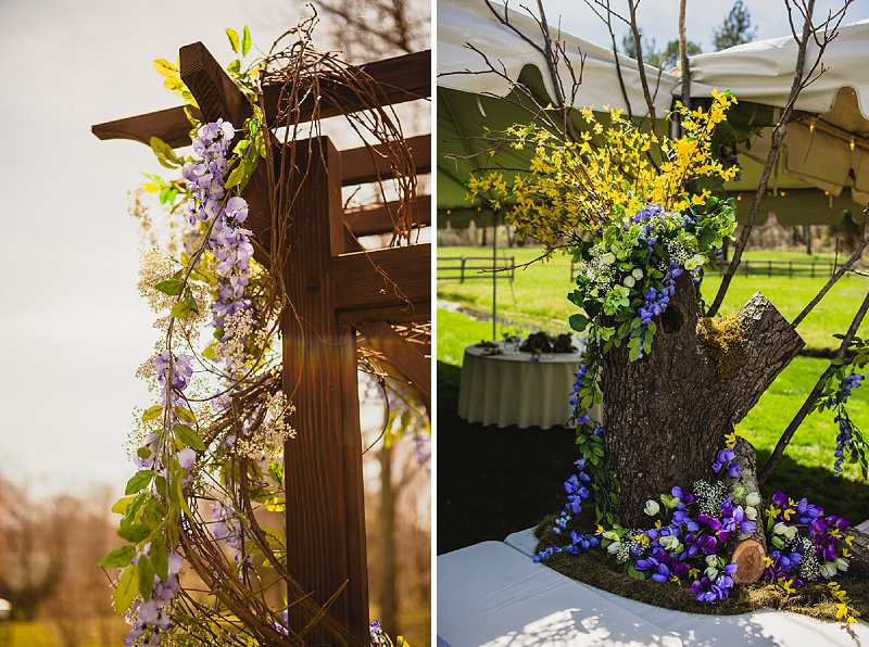 purple green woodend wedding