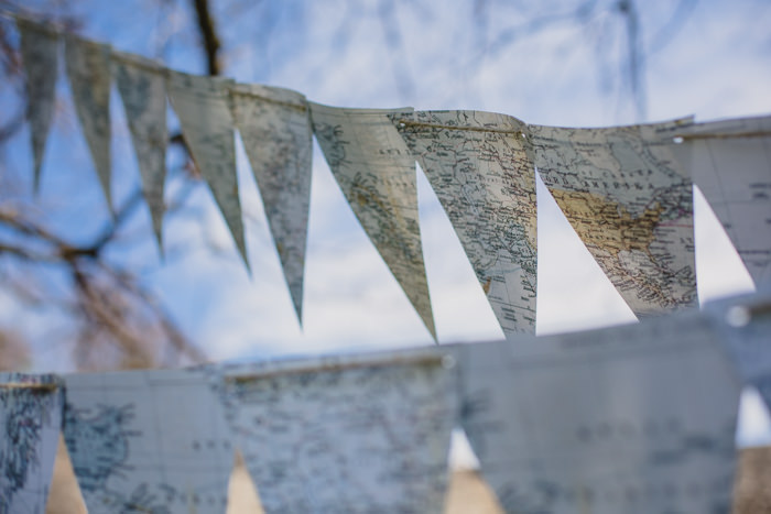 map bunting wedding decoration