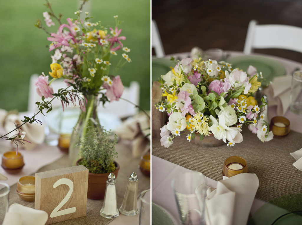 rustic springtime wedding centerpieces