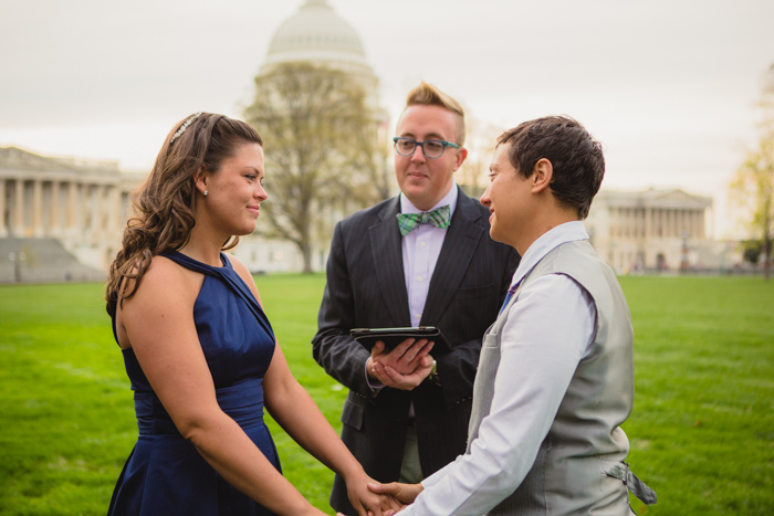 modern intimate same sex DC wedding ceremony