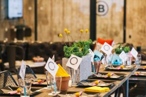 industrial CMYK wedding dinner party