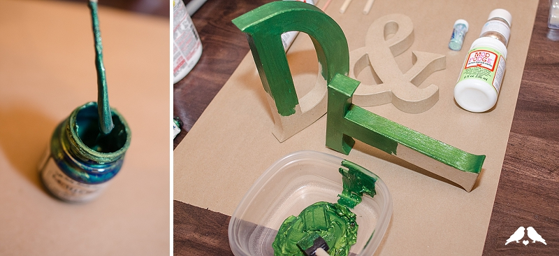 DIY ombre monogram letters wedding
