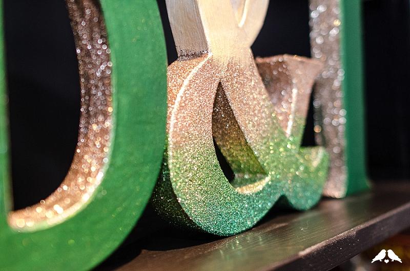 DIY glitter ombre monogram letters