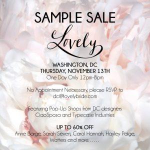 DC bridal sample sale