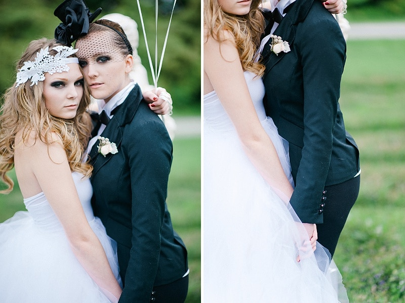 black white same sex goth wedding pictures (5)