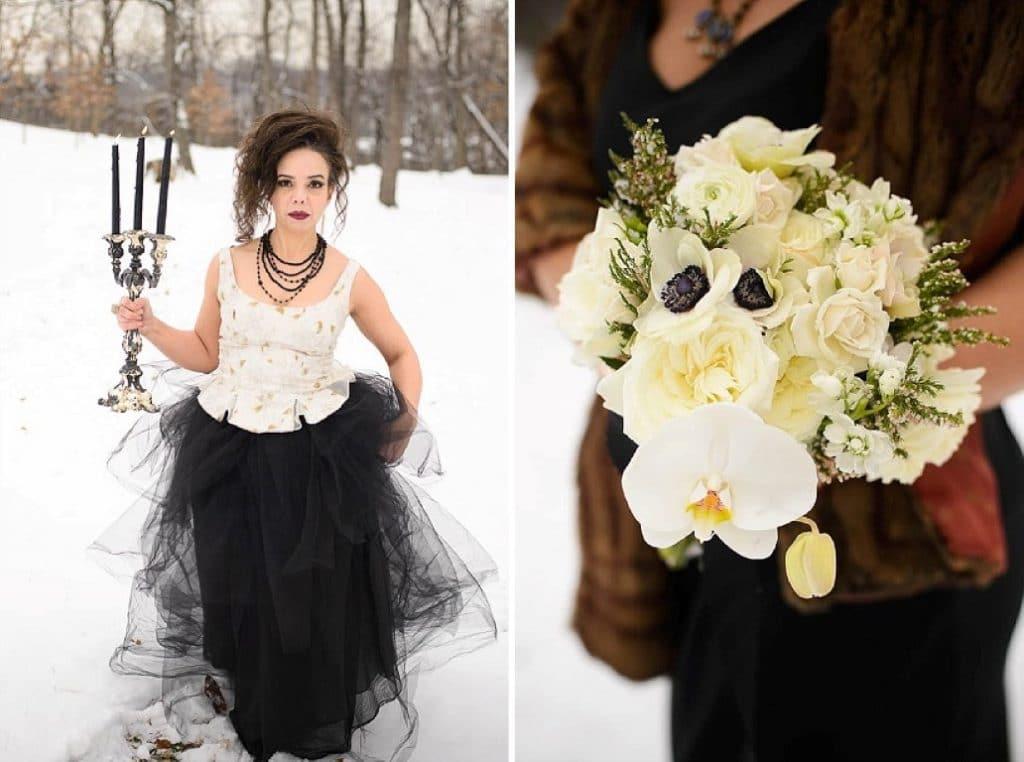 vintage gothic snow bridal inspiration pictures (4) (Medium)
