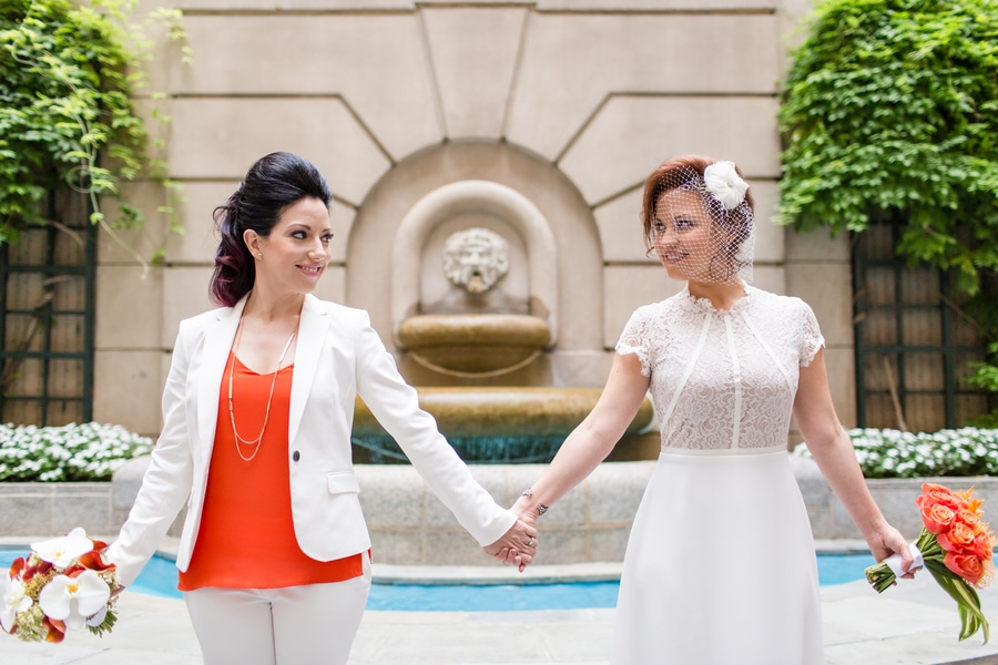 modern same sex orange themed DC wedding (18)