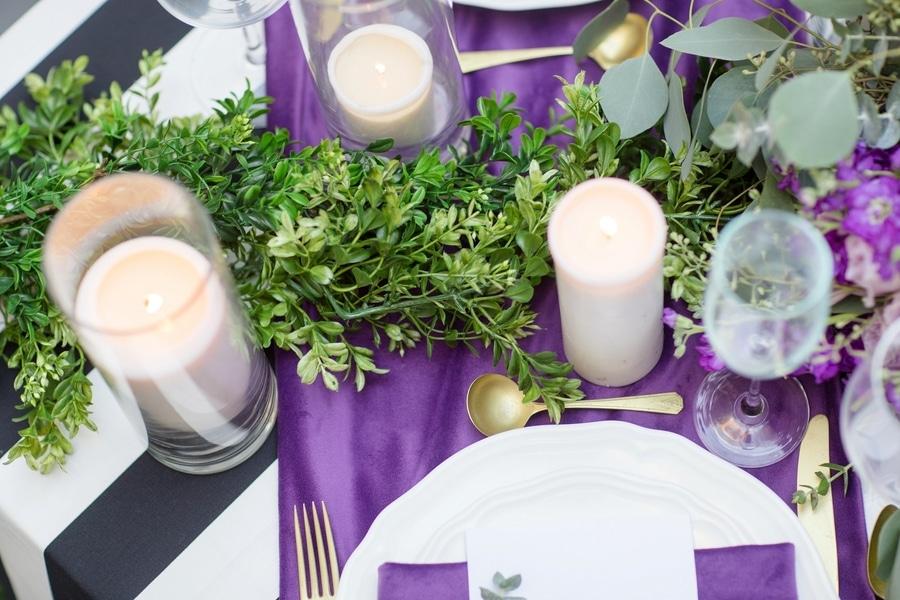 intimate DC elopement romantic purple wedding details decorations (1)