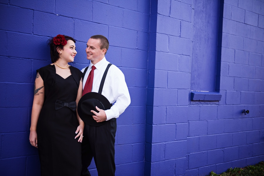 pin up 1950s inspired maryland record store engagement pictures (2)
