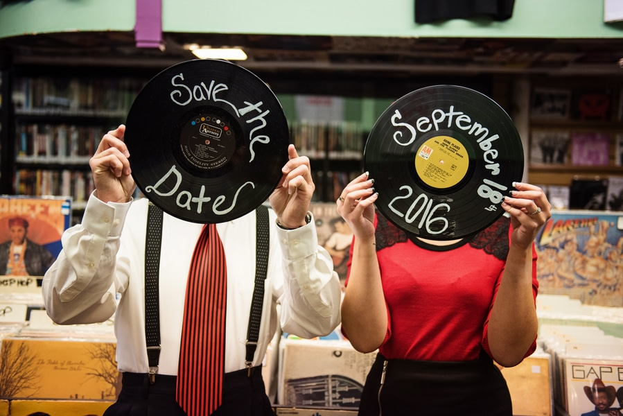 pin up 1950s inspired maryland record store engagement pictures (5)