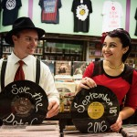 Matt & Lindsay's Vintage Record Store Engagement Pictures in Maryland