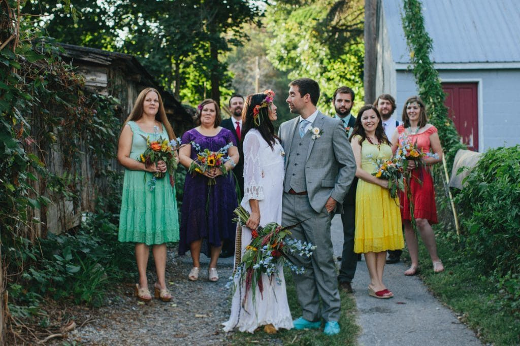 festival themed DIY rainbox colorful west virginia wedding (19)
