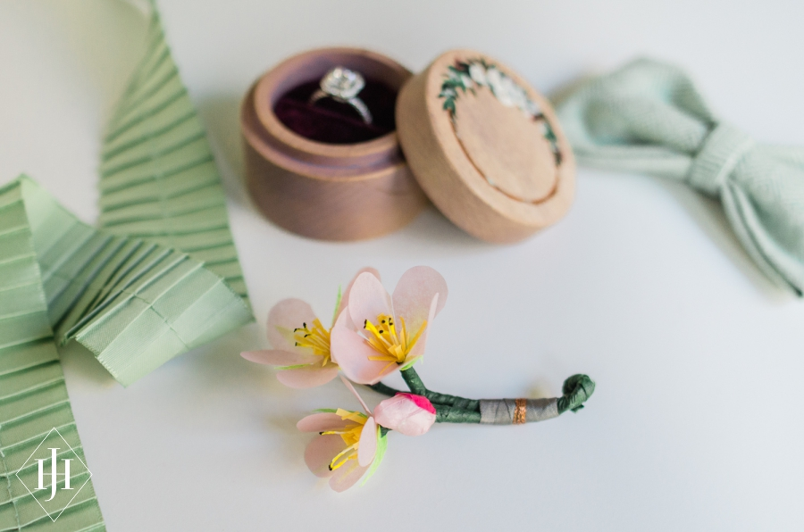 Diy paper flower tutorial paper cherry blossom boutonnieres the dc area may be known for its cherry blossom season but getting those lovely fluffy bunches to your wedding is tough given their fickle timing and super mightylinksfo