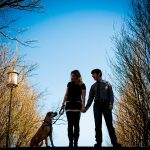 Alex & Neal's Casual, Meridian Hill Park Engagement Pictures with Pup Penelope