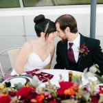 Gorgeous Deep Red & Gold Modern Rooftop Wedding Inspiration
