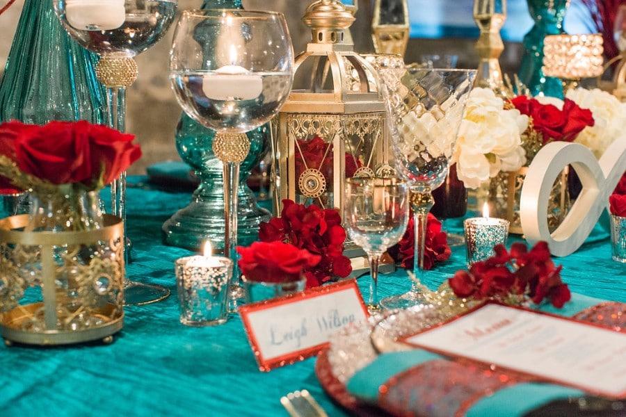 Red, Teal, & Gold Modern Wedding Details, Design, & Inspiration ...